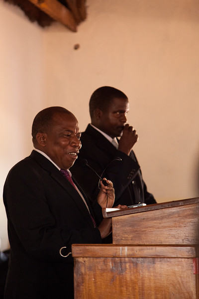 Bro. Raphael speaks during Saturday morning's dedication services at his church in Lilongwe.