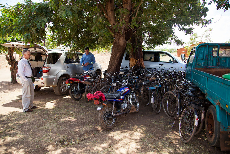 In a church service with over a hundred people, only one automobile (the truck on the right) was not our own. The rest of the members of this church either walked or rode bikes.
