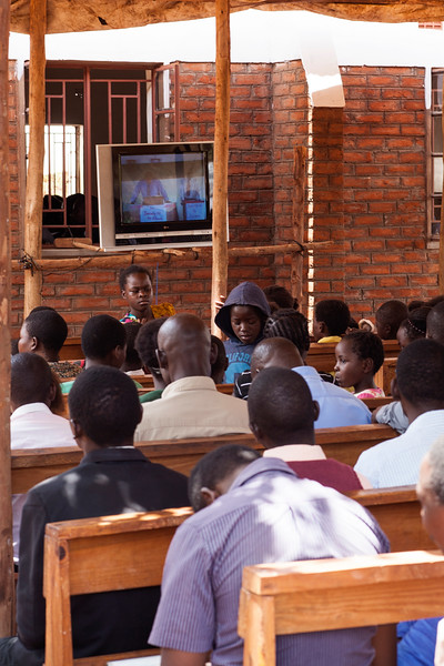 Overflow seating during Saturday morning's service at the dedication meetings at Bro. Raphael's church in Lilongwe.