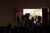 Men stand in the doorway, eager to hear during Saturday morning's service at the dedication meetings at Bro. Raphael's church in Lilongwe.