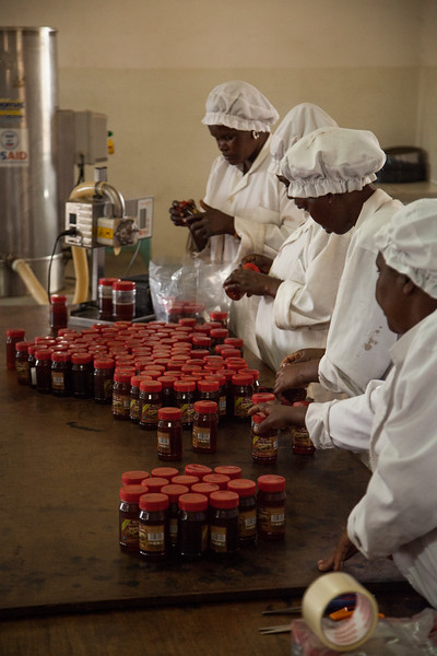 Workers bottle and label the honey for sale.