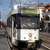 De Lijn PCC tram no. 7128 at Antwerpen Centraal station on line 10 to Wijnegem, Beglium.