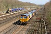 23 March 2015 :: 66720 along with 66757 is seen at Basingstoke running as 0Y67 from Hoo Junction to Eastleigh