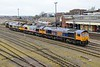 9 March 2015 :: A busy scene of stabled locomotives at Eastleigh.  66738, Rainbow 66720 and 66759