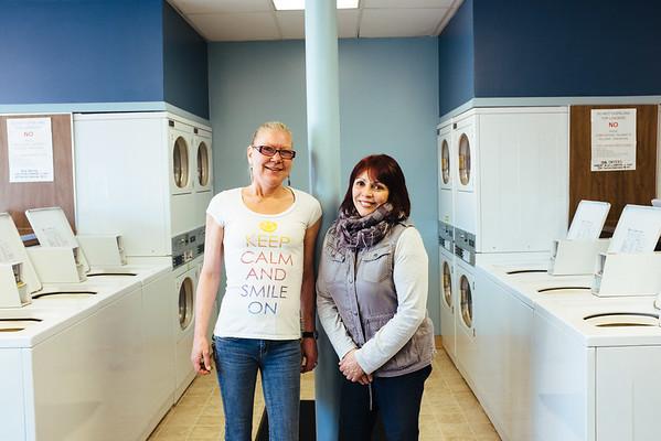 JOED VIERA/STAFF PHOTOGRAPHER- Wilson, NY-Owner Marilyn Wilson and employee Linda Sokolowski stand inside the new Wilson Village Laundrette WIlson . Wednesday, March 11, 2015