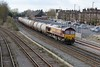24 March 2015 :: The last train of TTA fuel oil wagons out of Fawley ran today.  66137 (complete with Fawley Finale headboard) is seen arriving at Eastleigh hauling a consist of 16 TTA's.  The train is 6B62 which ran from Fawley to Eastleigh