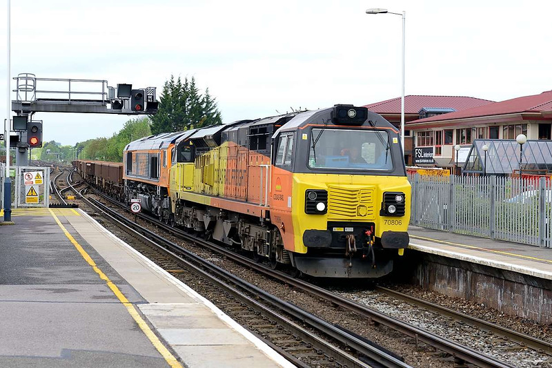 15 May 2015 :: 70806 along with GBRf's 66704 DIT is seen at Basingstoke working 6Y41 from Eastleigh to Hoo Junction