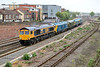 6 May 2015 :: The convoy of locomotives on their way to the Swanage Diesel Gala.  66741, 50035 37057, 45060 and 56006 depart from Eastleigh and the train reporting number is 0O56