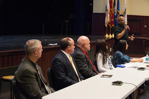 JOED VIERA/STAFF PHOTOGRAPHER-Lockport, NY-Mark Sanders speaks during a heroin panel at Lockport High School