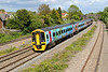 """18 May 2015 :: Sporting its new """"Springboard"""" colours 158798 is seen at Undy working 1F18, the 1223 Portsmouth Harbour to Cardiff Central"""