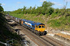 16 May 2015 :: MSC livery 66709 is pictured at Micheldever on 4Y19, the gypsum train from Mountfield to Southampton