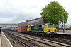 6 May 2015 :: In what is believed to be the first visit of this locomotive to area, 70002 pulls away from Eastleigh working 4O54 from Leeds to Southampton