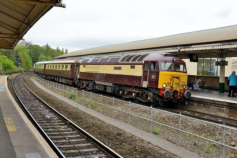 4 May 2015 :: Seen at Bath is the return working of the Northern Belle to Victoria, 1Z13 led by 57312
