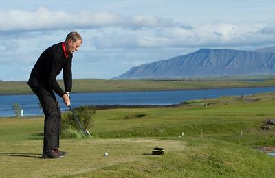 Þorsteinn Freyr Þorsteinsson slær af 3. teig.