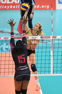London Legacy Volleyball Cup - Team Northumbria 0 vs. 3 RC Cannes (17, 22, 16), Copper Box Arena, Queen Elizabeth Olympic Park, 12 September 2015.  © Lynne Marshall
