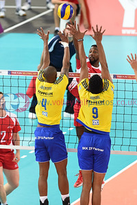 London Legacy Volleyball Cup - Team Northumbria 1 vs. 3 VfB Friedrichshafen (15-25, 25-23, 14-25, 18-25), Copper Box Arena, Queen Elizabeth Olympic Park, 12 September 2015.    © Lynne Marshall