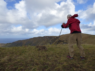 Myth member - Dave Cameron braving the fierce wind for a picture of the cauldron Ranu Kao - Erika Milam