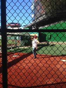 Craig takes a pitch in the Nationals bullpen (photo by Jenni Simmons)