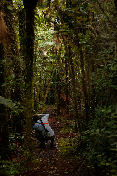 Kelsey takes aim down the natural hallway of this trail through the Puketi Forest.