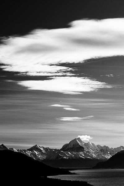 Aoraki looms high over all of New Zealand, building its own weather patterns in the sky above.