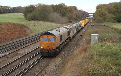 66731 Potbridge 25/11/15 6Z25 Tonbridge to Eastleigh with 73128