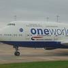 OneWorld branded British Airways Boeing 747-400 at London Heathrow.