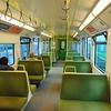 Iarnrod Eireann DART 8100 Class EMU no. 8121 interior at Dublin Connolly on a Greystones service.