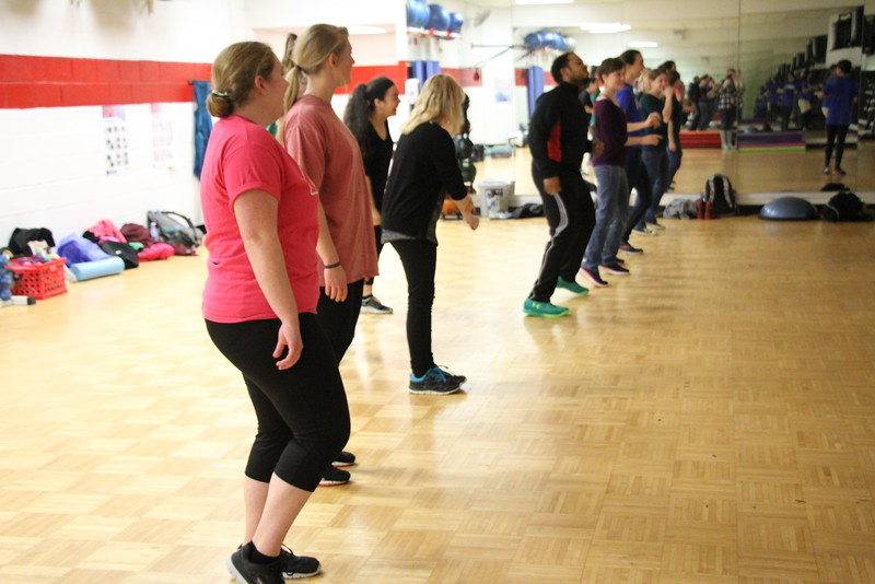 This week's Spanish Conversation Table was taken to the aerobics room so the students could learn some new dance moves from the Spanish TAs.