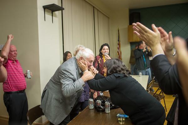JOED VIERA/STAFF Lockport, NY-Anita Mullane congratulates Joe O'Shaughnessy at Democratic Headquarters.