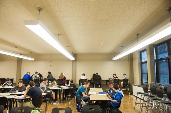 JOED VIERA/STAFF PHOTOGRAPHER Lockport, NY-Lockport High School students work inside of the newly redesigned Study Hall