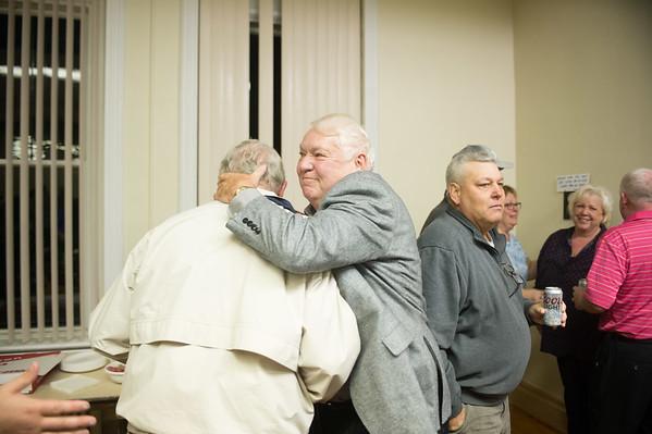 JOED VIERA/STAFF Lockport, NY- Dick Shanley congratulates Joe O'Shaughnessy at Democratic Headquarters.