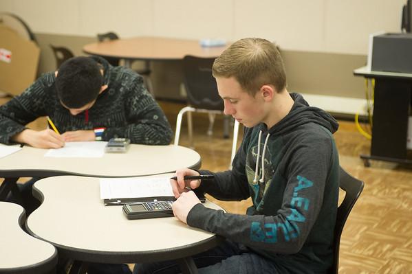 JOED VIERA/STAFF PHOTOGRAPHER Lockport, NY- Kyle Comstock works on algebra Homework inside of Lockport High School's newly redesigned Study Hall