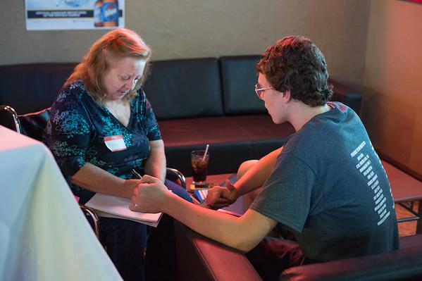 JOED VIERA/STAFF PHOTOGRAPHER Lockport, NY-Marilyn Cummings speaks with Austin Knott at the #MSSUCKS event at DRI.