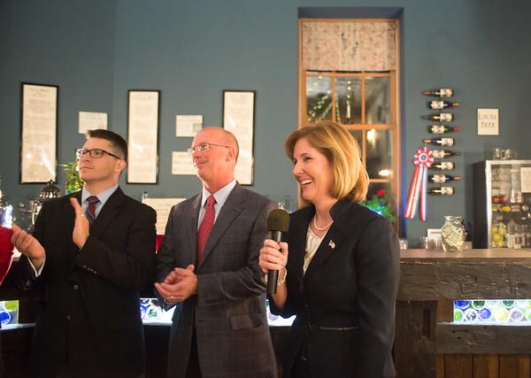 JOED VIERA/STAFF Lockport, NY-Lockport Mayor Anne McCaffrey gives a victory speech at Republican Headquarters.