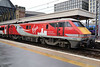"25 November 2015 ::  Seen at Kings Cross is 91114 ""Durham Cathedral""  with a special Virgin Trains East Coast livery which has been designed to reflect the locomotive's name"