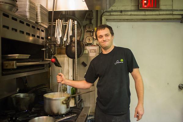JOED VIERA/STAFF PHOTOGRAPHER Lockport, NY-Chef Dave Stoll preps before dinner at Shamus Restaurant.