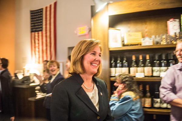 JOED VIERA/STAFF Lockport, NY-Lockport Mayor Anne McCaffrey walks into applause at Republican Headquarters.