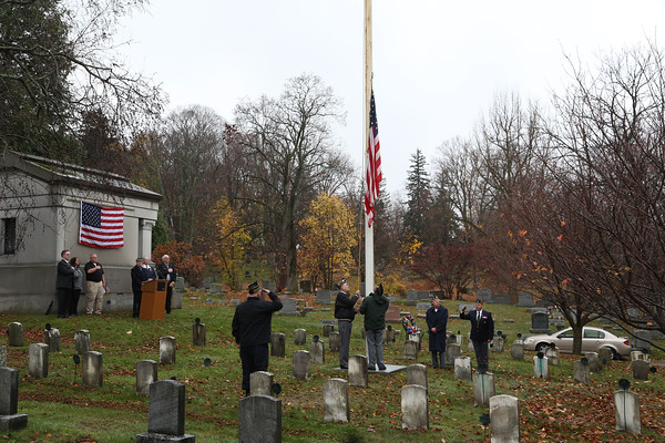 STEPHEN WALLACE/ CONTRIBUTER-Attendees salute Old Glory as its lowered to half staff during the Veterans Day ceremony at Cold Springs Cemetery.