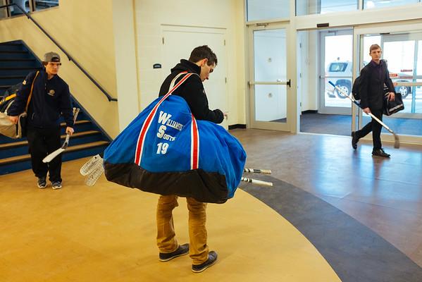 JOED VIERA/STAFF PHOTOGRAPHER- Lockport, NY- Hockey players walk around the lobby at Cornerstone Arena. Friday, January, 23, 2015