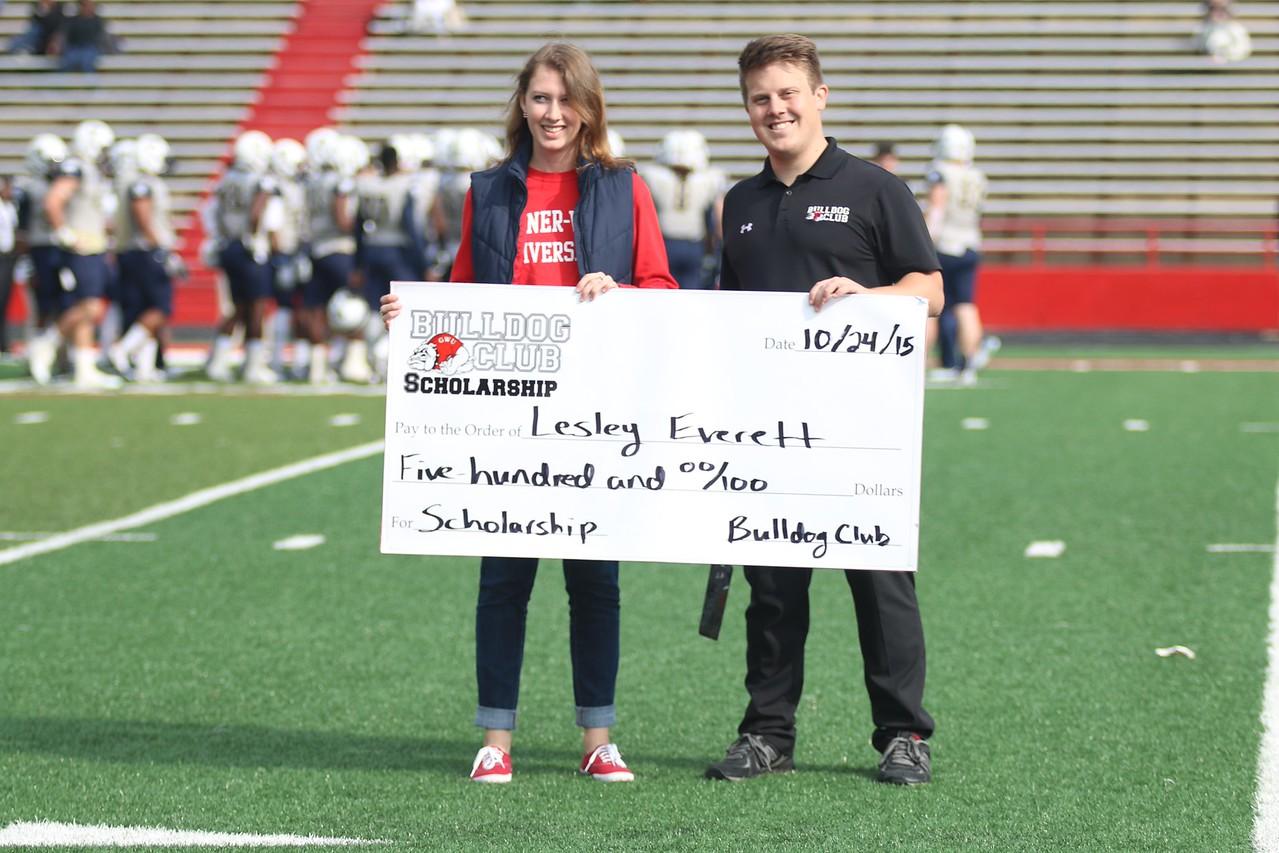 Lesley Everett won the $500 Bulldog Club Scholarship at Saturday's football game.
