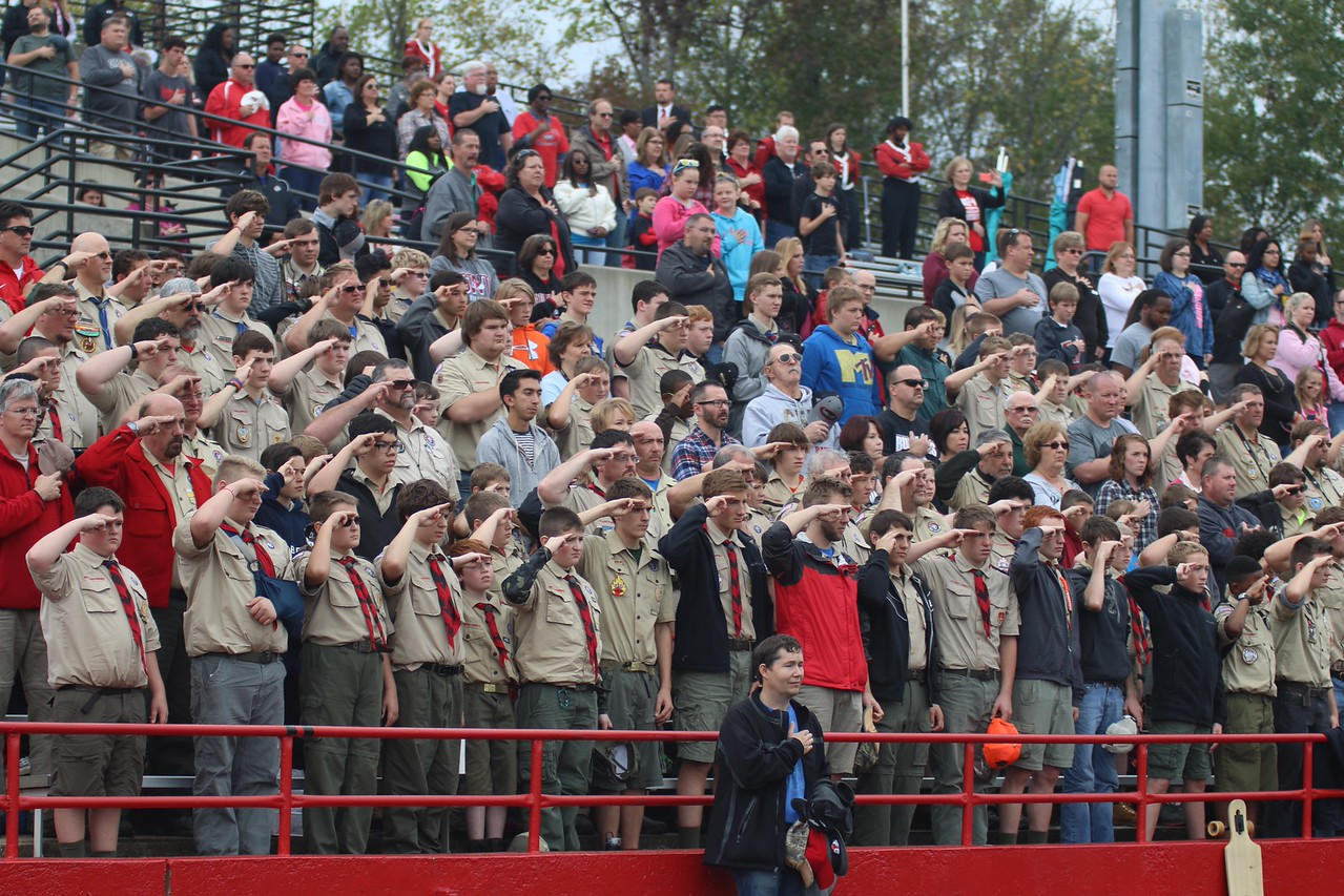 All weekend, Scouts were here visiting campus. They attended the football game as well.