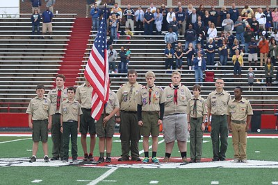 All weekend, Scouts were here visiting campus. They held the American flag at the start of the game.