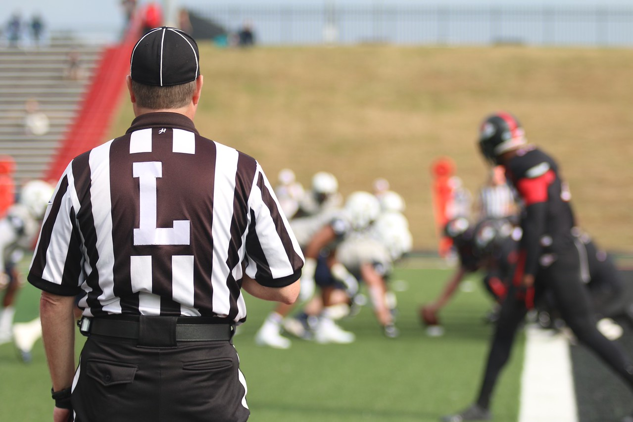 The Ref watches the game.