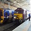 West Coast Railway Company Class 57 no. 56313 on the Royal Scotsman charter with ScotRail Class 158 Sprinter no. 158705 at Edinburgh Waverley.