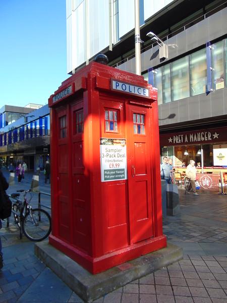An incongruous red TARDIS on Sauchiehall Street, Glasgow.