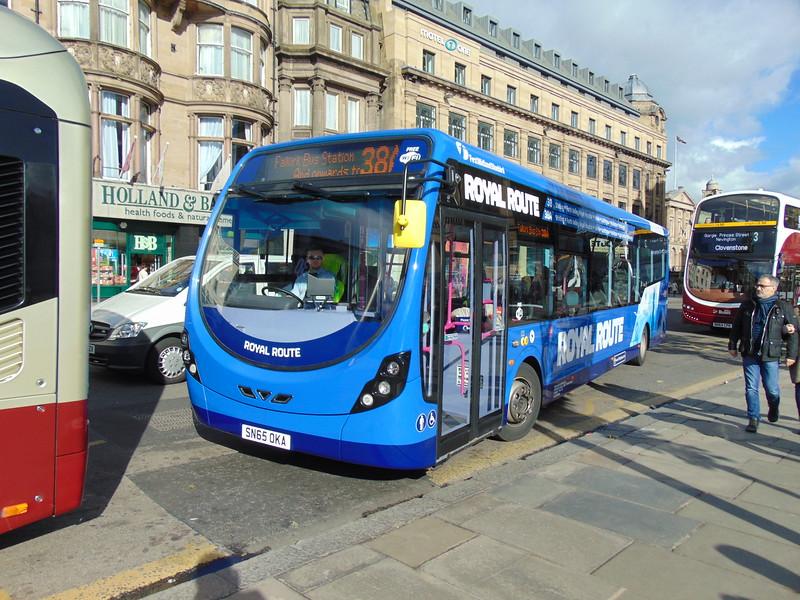 First Wright Streetlite SN65OKA 63275 on Princes Street in Edinburgh on Royal Route 38A.