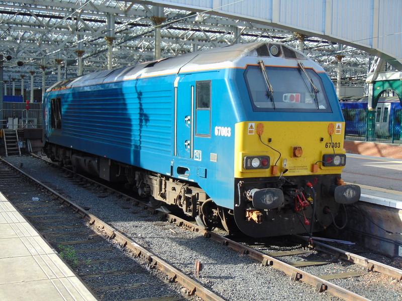 DB Schenker class 67 no. 67003 in Arriva colours at Edinburgh Waverley.