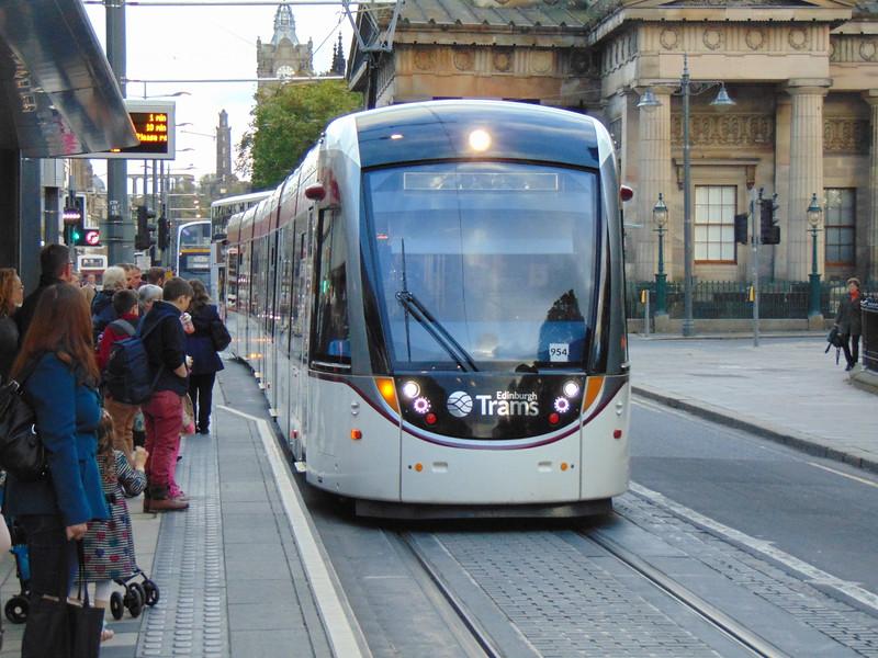 Edinburgh Trams CAF Urbos 3 no. 954 on Princes Street.