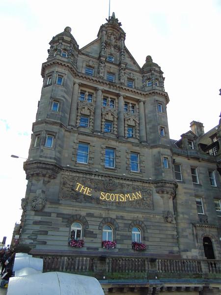 The Scotsman Hotel overlooking Edinburgh Waverley station.