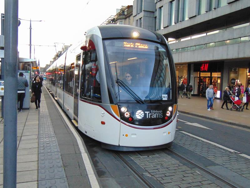 Edinburgh Trams CAF Urbos 3 no. 961 on Princes Street.